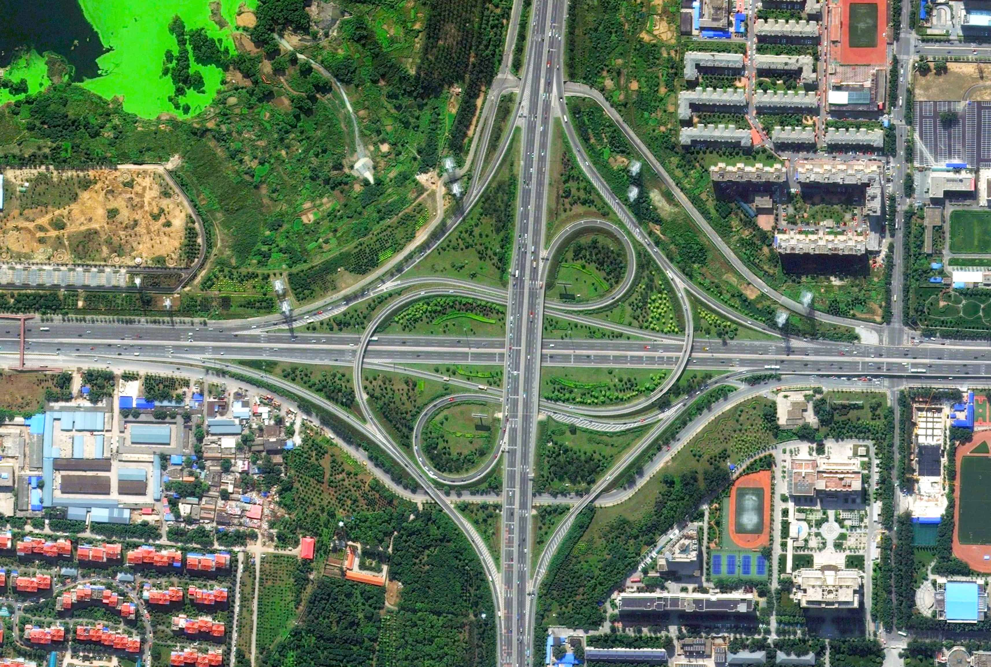Jin Yuan Bridge, Beijing, China - Aerial View - Transport and Infrastructure Intersection - Urban Planning