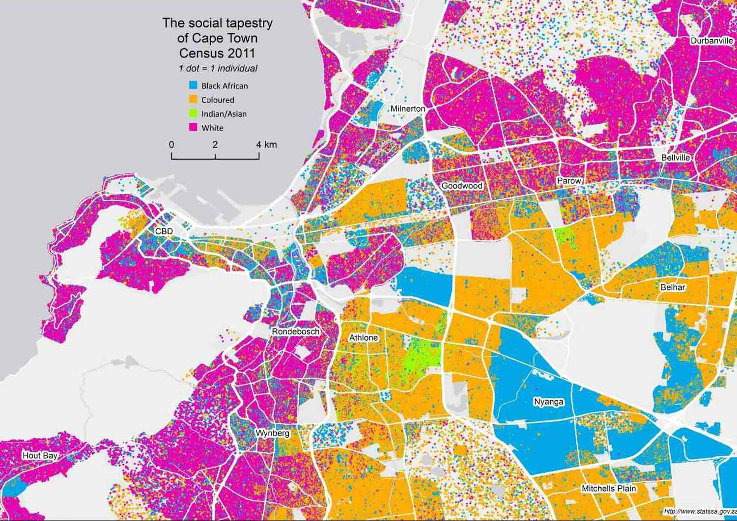 Race residential locations - Cape Town, South Africa - Urban Planning