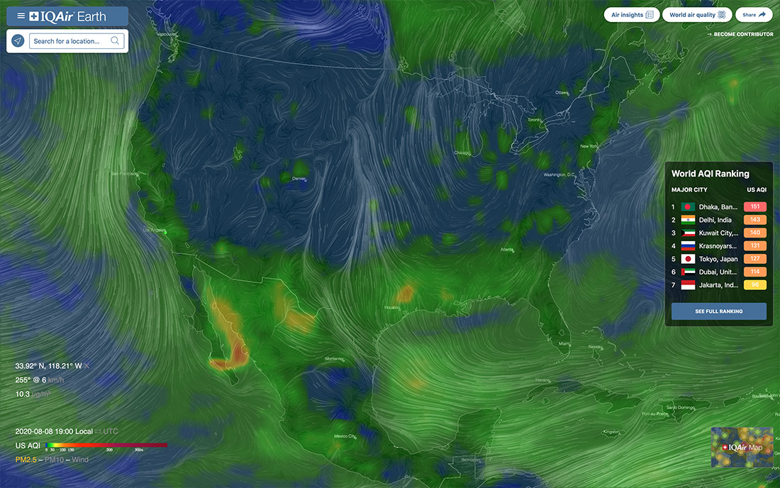 IQAir Earth - Air Pollution and Wind Analysis